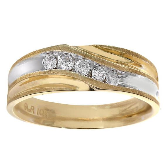 0 25 Carat Diamond Men S Wedding Band 10k Two Tone Gold Mens Diamond Wedding Bands Mens Wedding Bands Wedding Rings