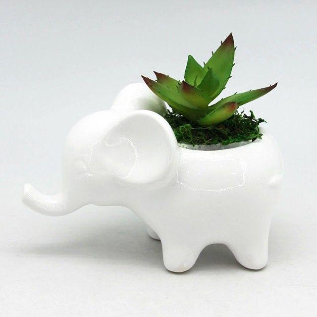 Ceramic Elephant Animal Shape Planters Flower Pots Plant Ceramic
