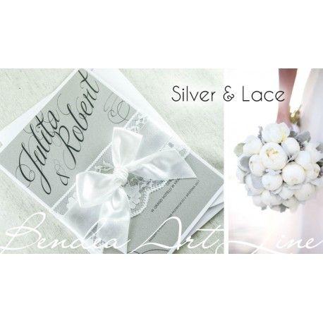 Zaproszenia ślubne Silver & Lace. Zaproszenia z koronką i kokardą