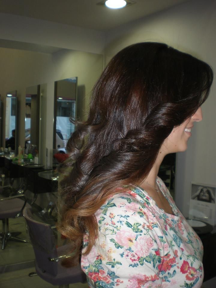 ombre in curly waves