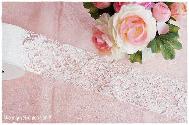 Hochzeitsdeko - Spitzenband Weiß 10m x 7cm Spitze - ein Designerstück von Wohngeschichten-von-K- bei DaWanda