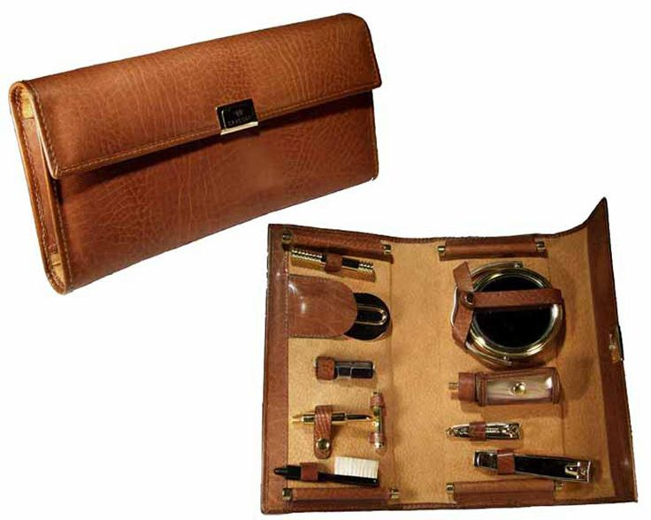 Men's toilette kit in leather. MADE IN ITALY