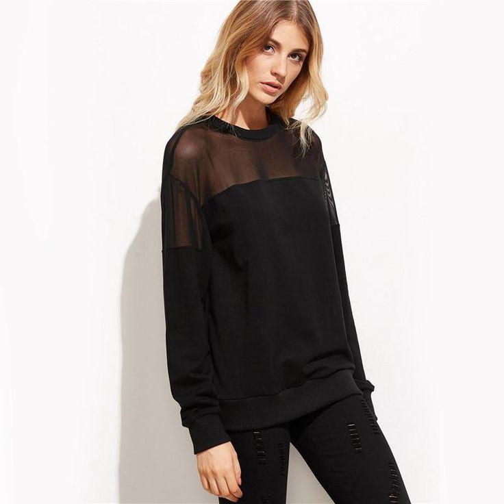 Sheer Yoke Black Sweater Top