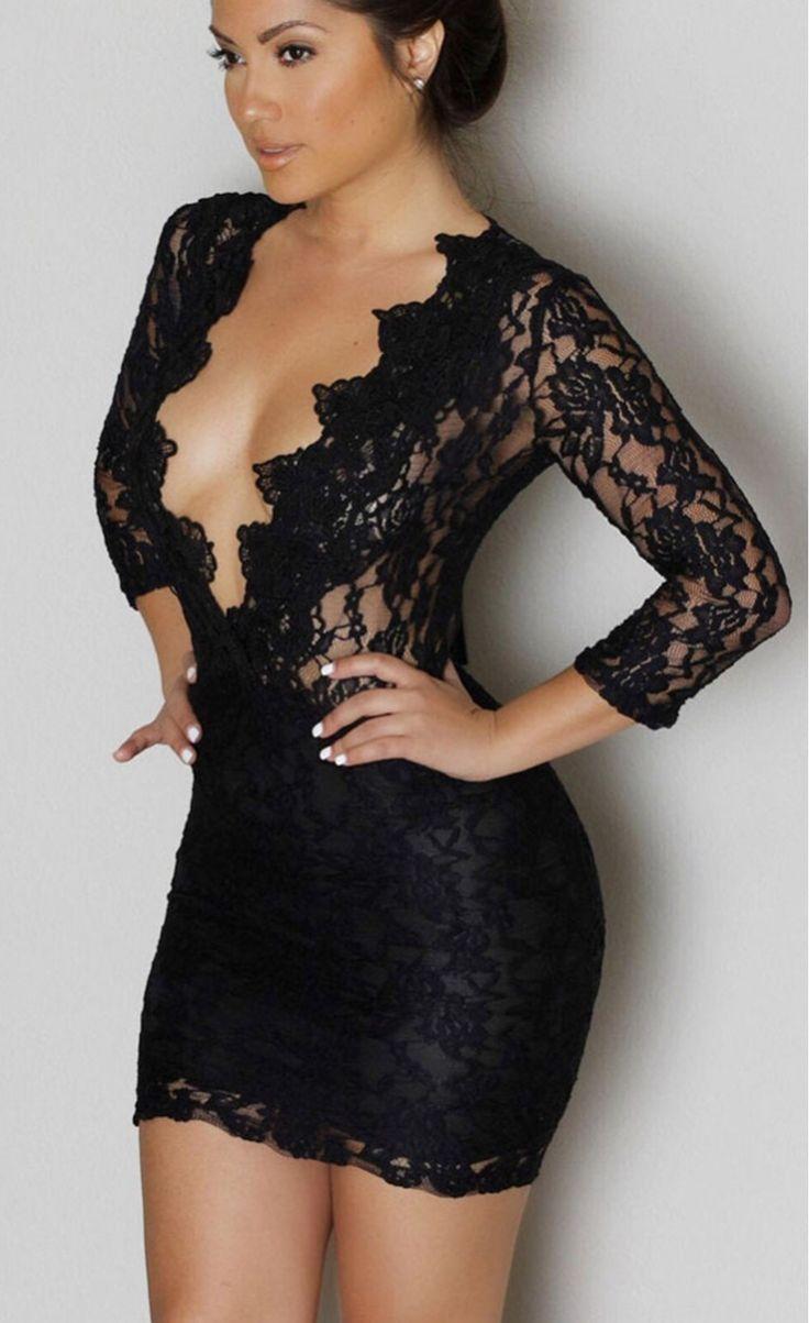 Lace V-neck Mini Club Dress