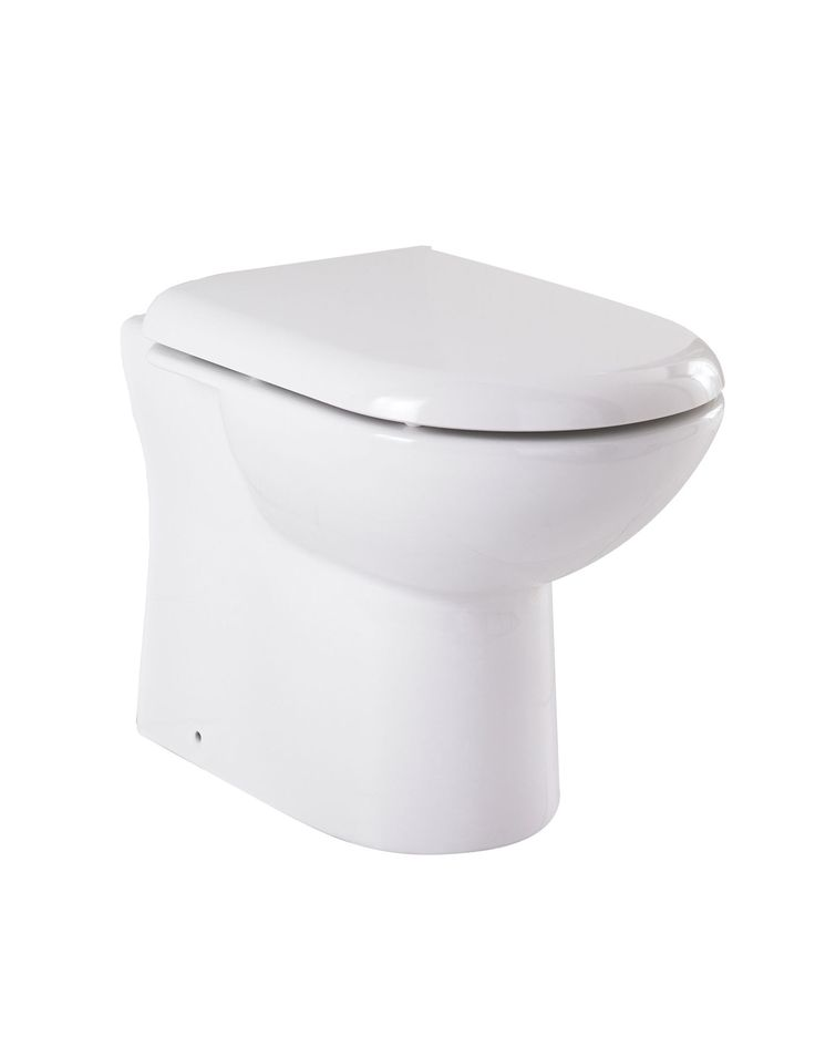 Lauren White Minimalist D-Shape Back To Wall Toilet Pan. £77. Quick-release seat available separately. Dimensions :Width : 370mm x Height : 405mm x Projection : 535mm.