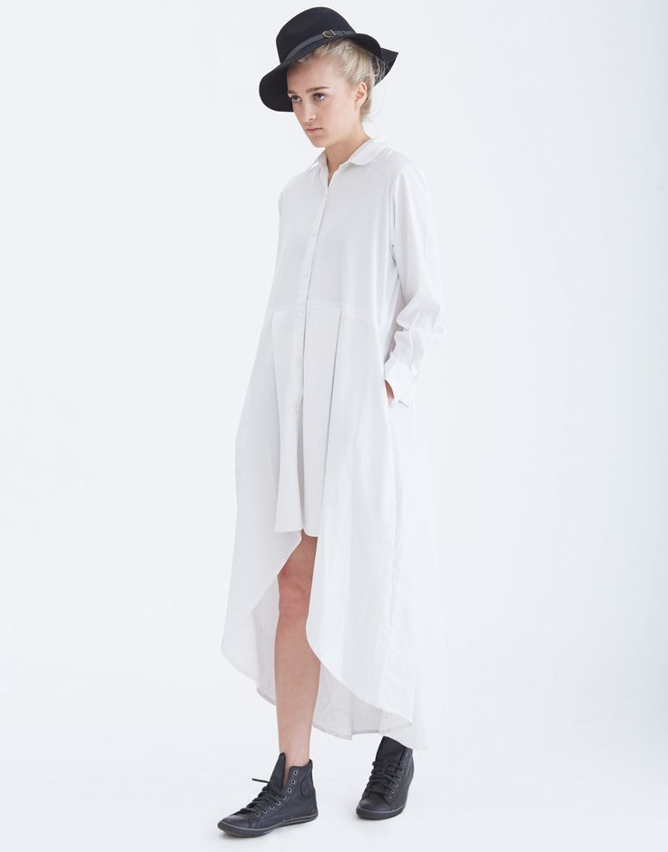 NIKICIO Structured Long Sleeve Shirt Dress