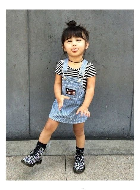 little girls fashion | denim overalls dress, black and white stripe shirt, black choker necklace, kids, toddler style, summer