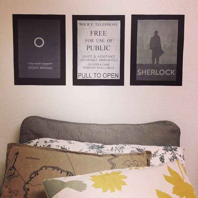 Geek chic Bedroom decor, the Lord of the Rings, Doctor Who and Sherlock! :) (above the bedhead!)