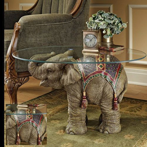 Unique-End-Table-Glass-Oval-Side-Sofa-Unusual-Lamp-Coffee-Elephant-Accent-Statue
