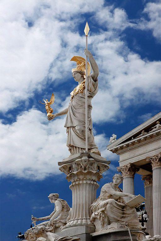 The Athena Fountain (Pallas-Athene-Brunnen) in front of Austrian Parliament Building, Vienna | Austria