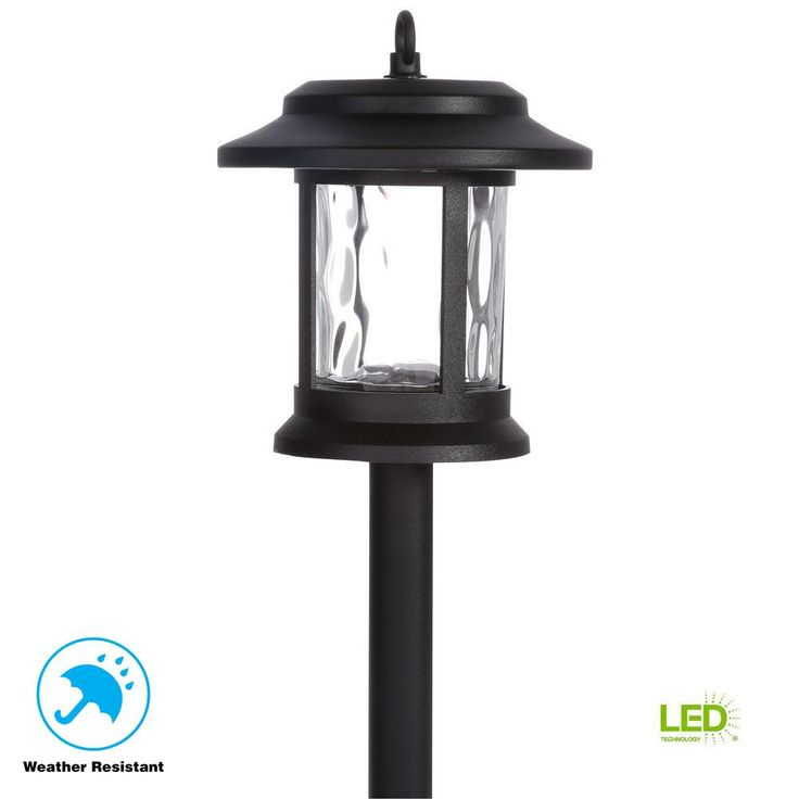 Hampton bay solar black outdoor integrated led lantern