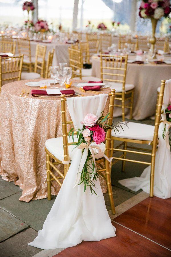 Glittery gold and pink accented wedding decor: http://www.stylemepretty.com/south-carolina-weddings/charleston/2015/11/30/berry-gold-charleston-fall-wedding/   Photography: Dana Cubbage - http://danacubbageweddings.com/