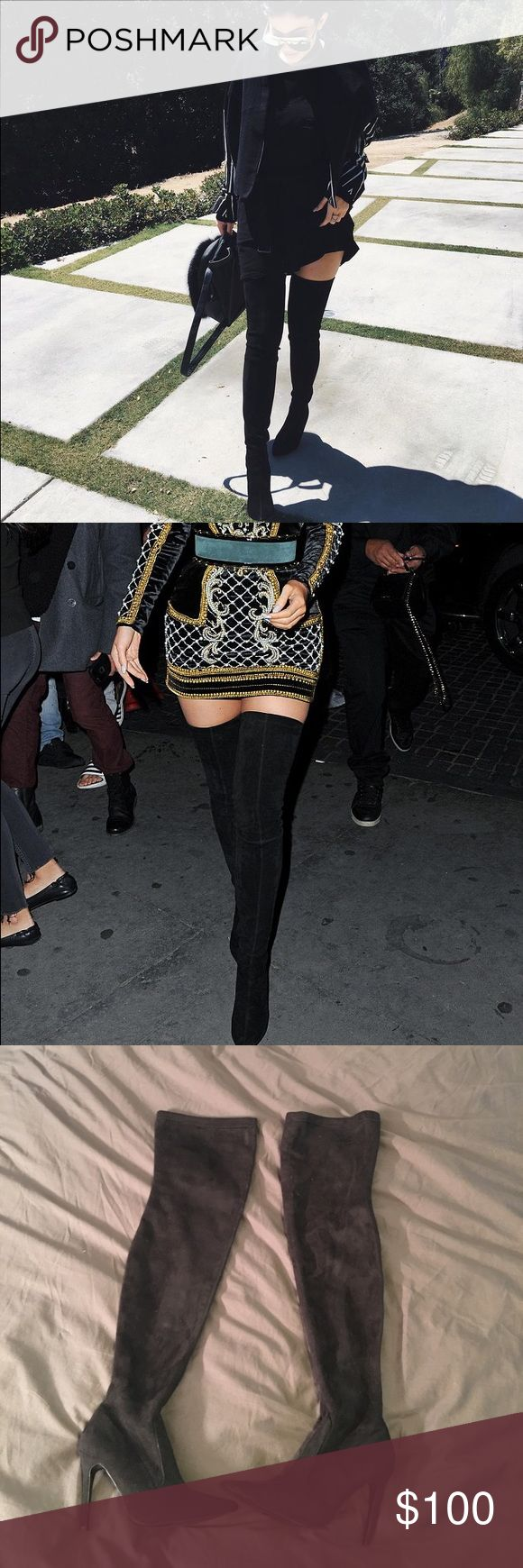 Kylie Jenner boots Kylie Jenner suede boots, brand is cape robin. These are a must have! Get the Kylie Jenner look for a fraction of the price. Size 6 black suede thigh high boots! Steve Madden Shoes