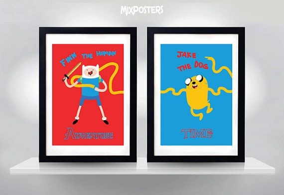 ADVENTURE TIME Finn and Jake Wall Art Print Cartoon от MixPosters, $30.00