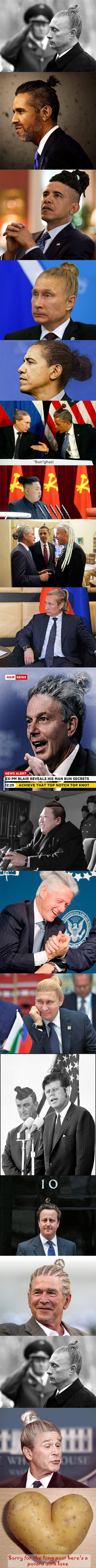 World leaders with the dreaded man bun...because of reasons...