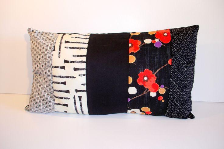 Coussin en tissus japonais et américains 30 x 50 cm : Textiles et tapis par…
