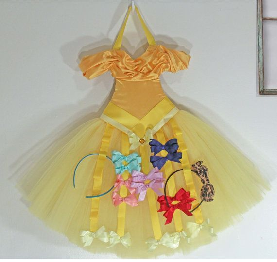 "Hair Bow Organizer-Hair Bow Holder and Storage-""Belle"" Tutu Dress Hanging Beauty & The Beast Bow Holder on Etsy, $52.00"