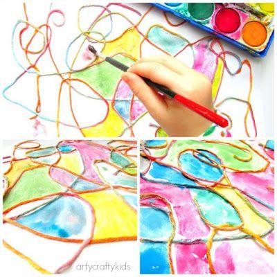 Sempre criança: http://www.artycraftykids.com/art/watercolour-yarn...