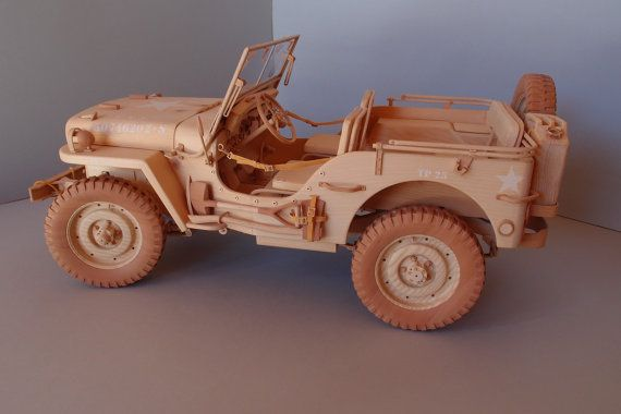 WILLYS MB JEEP Modell aus Holz Scale 1/6