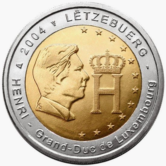 2 euro coins - Luxembourg 2004, Effigy and Monogram of Grand Duke Henri. Commemorative 2 euro coins from Luxembourg