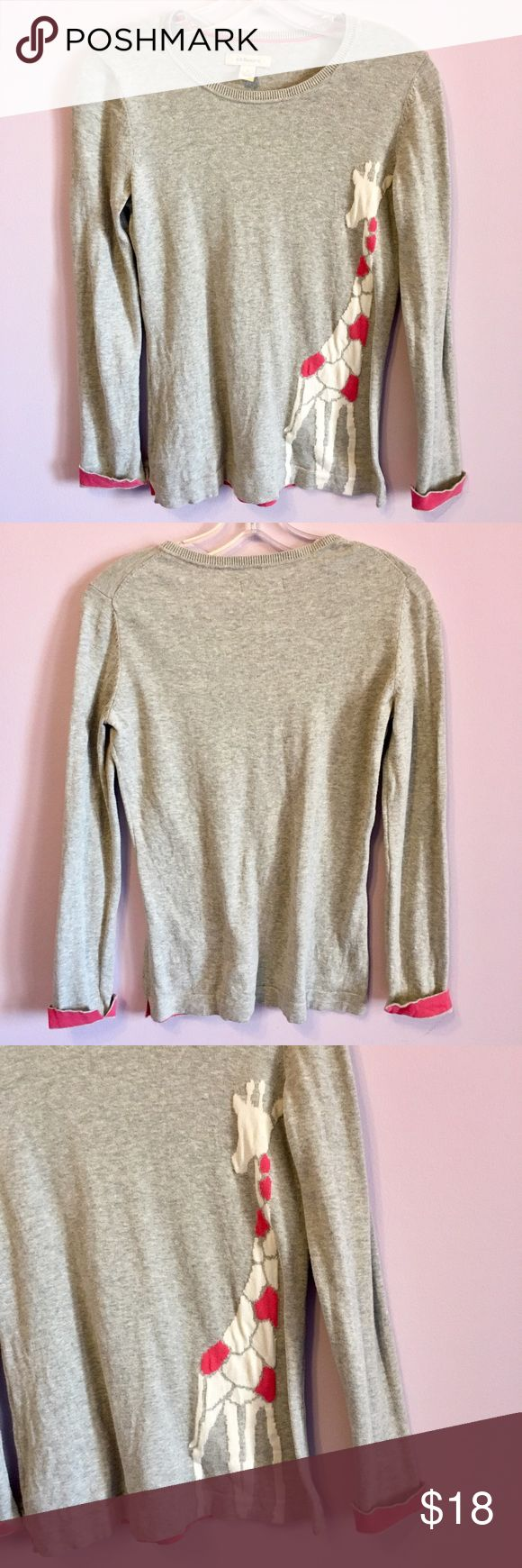 100% Cotton Giraffe Sweater 100% cotton gray sweater with a pink and white giraffe design. The cuffs roll up and are pink underneath or can be rolled down so the whole sleeve appears as a uniform gray color. Good condition. TTS. GH Bass & Co. Sweaters Crew & Scoop Necks