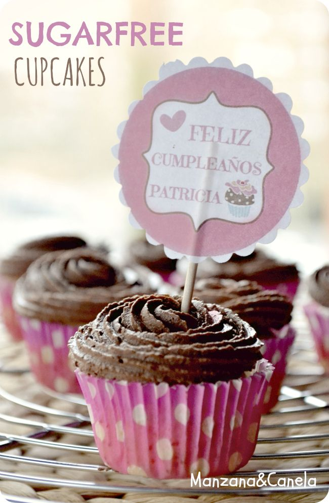 Mini-cupcakes de vainilla con buttercream de cacao... SIN AZÚCAR!