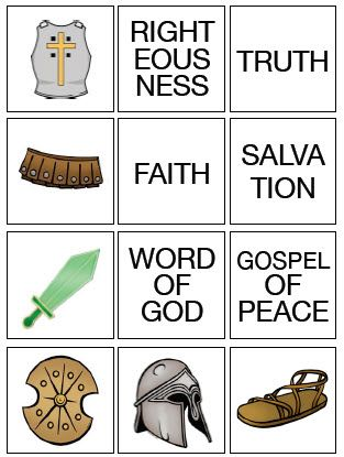 Armor of God Matching Game....use pics to make cut & paste or Velcro matching folder