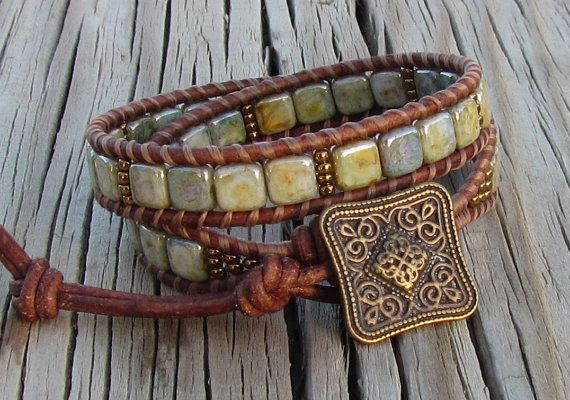 Green Opaque Luster Czech Mates square 2 hole beads and brass Toho seed beads with distressed leather and brass button