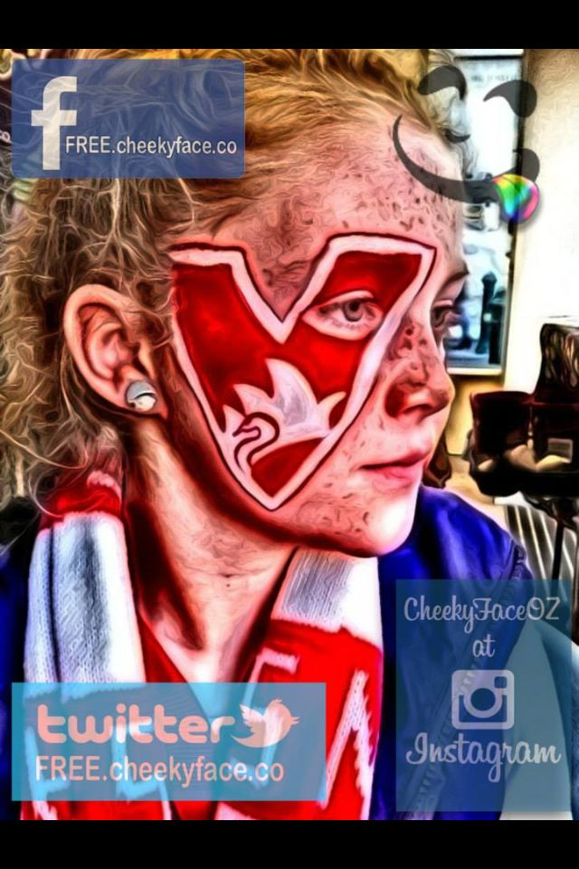 Sydney Swans football club footy fan face painting. Grand final parade 2014. Painted by Cheeky Face artist: Lorene