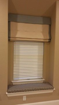 Soft Fold Roman Shades with Seat Cushions - southwestern - Home Theater - Dallas - iDesign Interiors, LLC