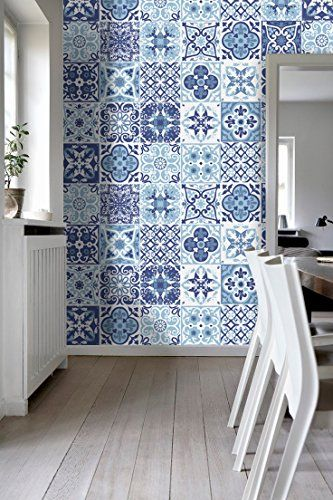 Tiles Art Wall Stickers Blue Portuguese (Pack with 48) (4 x 4 inches) Moonwallstickers.com http://www.amazon.com/dp/B00OFYL7MM/ref=cm_sw_r_pi_dp_9SUWvb1WWEN7S