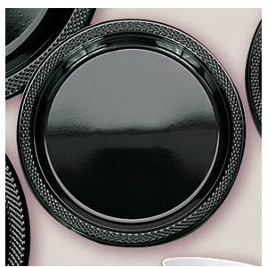 "Plastic Black Dinner Plates. Plastic 10.25"" Dinner Plates Solid ColoursThere are 20 Plastic Dinner Plates per package. They are a LARGE 10.25 inches and come in 22 colours to suit any theme or event. This is a great item if you require a large plate that is stronger than paper."