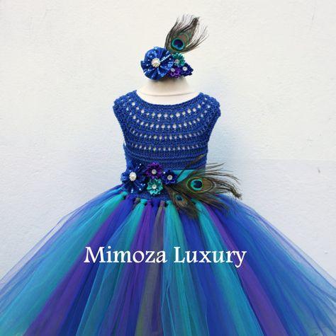 Pavo real azul real vestido vestido de pavo real por MimozaLuxury
