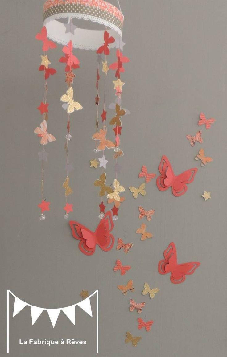 DISPO !! 25 Stickers  papillons - corail abricot pêche gris et doré - décoration chambre enfant bébé fille - décoration
