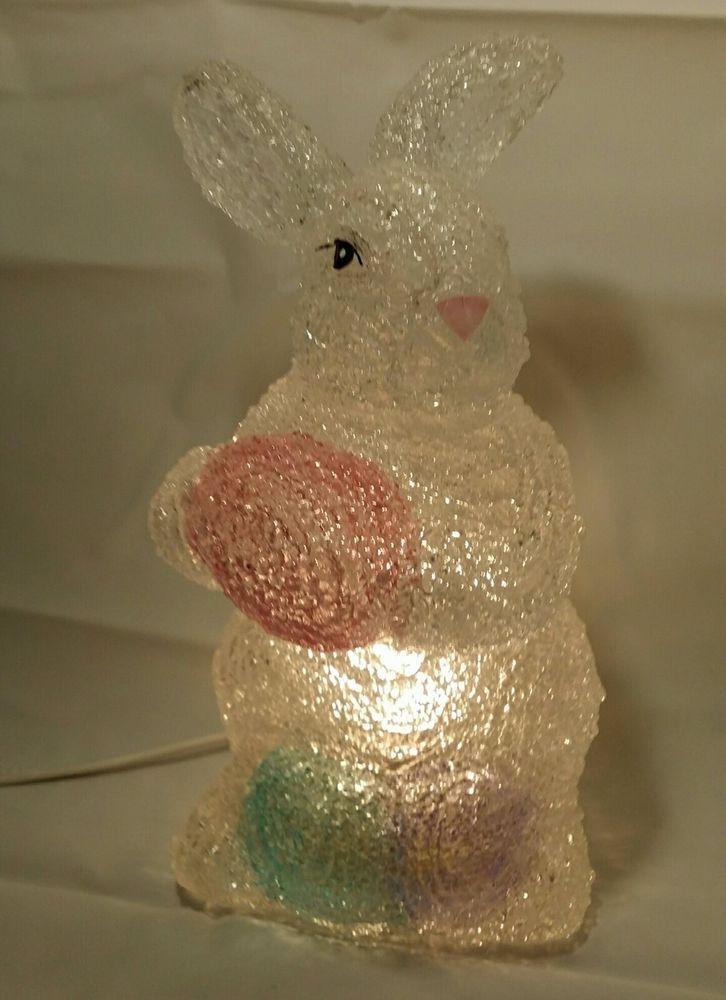 "8"" Easter Bunny Light Popcorn Melted Plastic Lamp Designed for Cracker Barrel"