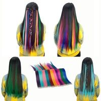 Wish | 1 Pcs 24Inch Synthetic Long Straight Single Clip In One Piece Hair Extensions 11 Colors Hair Pieces