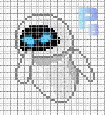 EVE Wall-E perler pattern - Patrones Beads / Plantillas para Hama