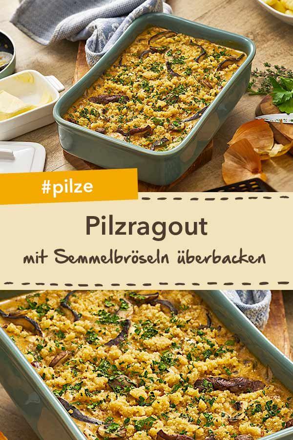 Gratiniertes Pilzragout Wird Im Ofen Mit Semmelbröseln überbacken