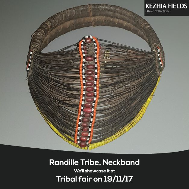 "Rare Randille Necklace (Mpooro Engoria), from the Samburu tribe of Northern Kenya, its made from giraffe tail hair, duom palm fibre, cloth binding and glass beads, Early 20th century, measurements are H 17 cm x W 21 cm. We will showcase it at ""Antique Textiles costumes carpets & Tribal Art Fair"" London on 19th Nov at Hilton London Olympia Hotel"