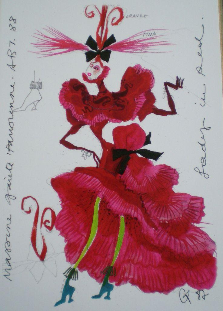croquis de costume de théâtre par Christian Lacroix_gaîté parisienne (ballet)