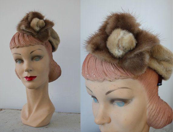 vintage 1940s hat / 40s fur tilt hat / 40s beaver fur hat / fur flower hat / fur rosette hat / 40s fur hat / May Lashmar Chapeaux