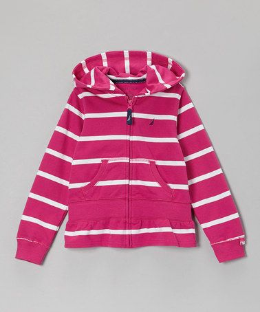 Take a look at this Bright Pink Stripe Zip-Up Hoodie - Girls by Nautica on #zulily today!