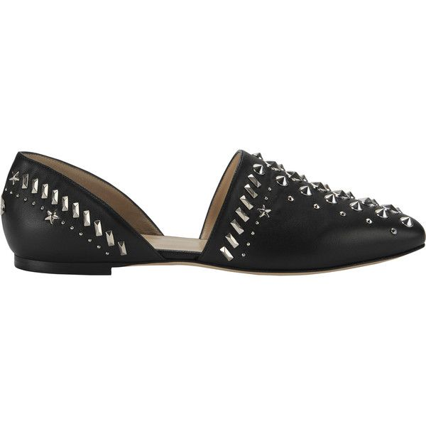 Globe Silver Stud Leather Flats (14,215 MXN) ❤ liked on Polyvore featuring shoes, flats, black, silver ballet flats, pointed toe flats, black flat shoes, black ballet shoes and silver pointed toe flats