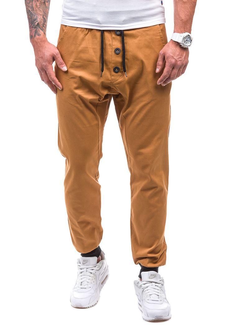 Pánské kalhoty jogger ATHLETIC 0472 kamelové