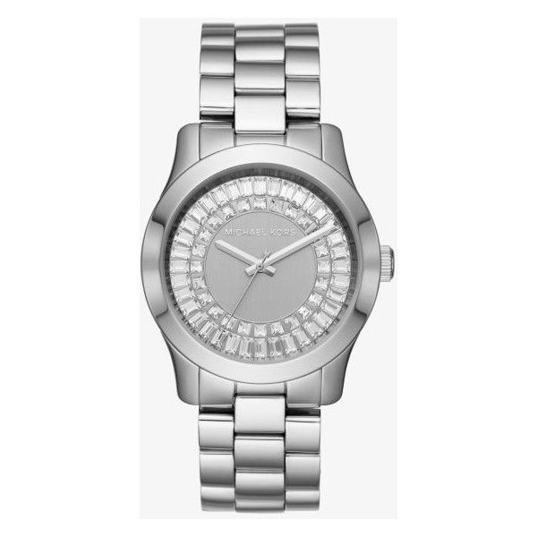 Shop Michael Kors Runway Baguette Silver-tone Watch in SILVER at... ($177) ❤ liked on Polyvore featuring jewelry, watches, baguette jewelry, silver tone watches, silvertone watches, silver watches and silvertone jewelry