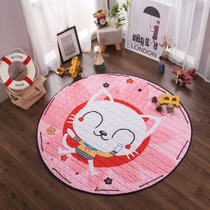 Cartoon Play mat for children,pink quilted cat print floor mats carpet the living room office bathroom anti-slip door carpet #Affiliate