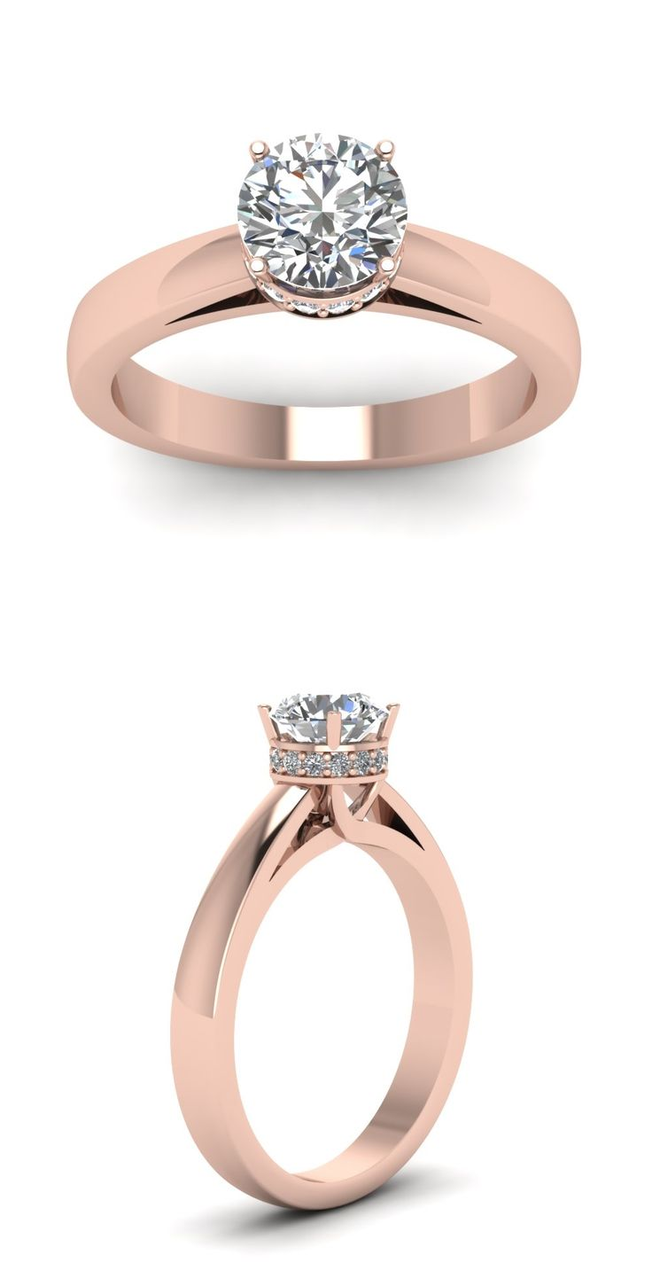Affordable Engagement Rings with White Diamond in 14K Rose Gold || Round Cut Diamond Engagement Rings ||