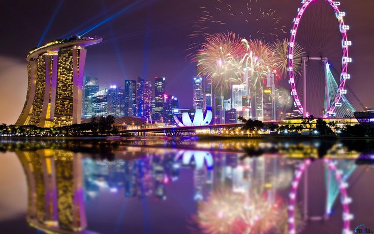 Обои для рабочего стола Фейерверк в Сингапуре