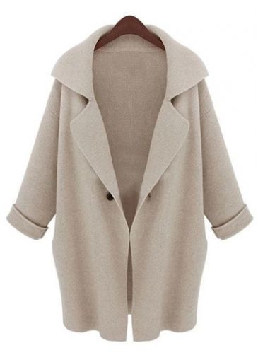 Charming Long Sleeve Turndown Collar Woman Sweaters Beige  with cheap wholesale price, buy Charming Long Sleeve Turndown Collar Woman Sweaters Beige  at rotita.com !