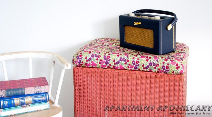 How to reupholster a Lloyd Loom laundry basket by Apartment Apothecary #interiors